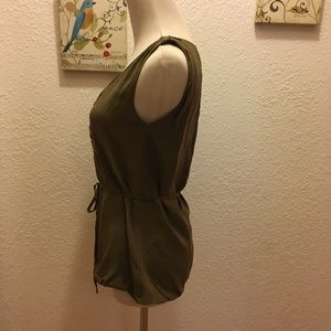 Olive Green Silk gathered sleeveless J.Crew 00
